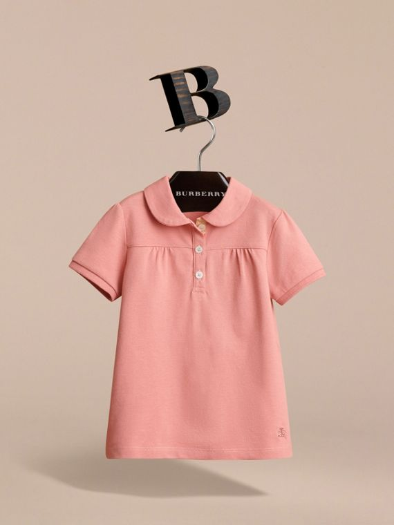 Peter Pan Collar Cotton Piqué Polo Shirt in Pale Rose - Girl | Burberry - cell image 2