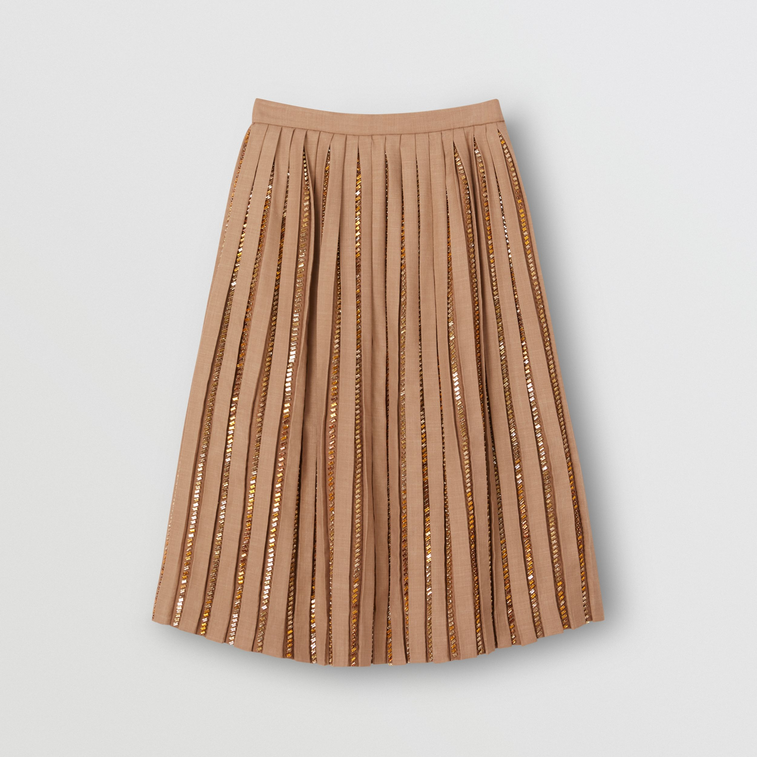 Crystal Detail Plissé Soleil Wool Silk Blend Skirt in Biscuit - Women | Burberry - 4