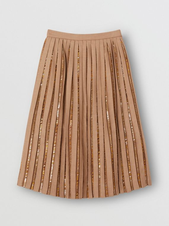 Crystal Detail Plissé Soleil Wool Silk Blend Skirt in Biscuit