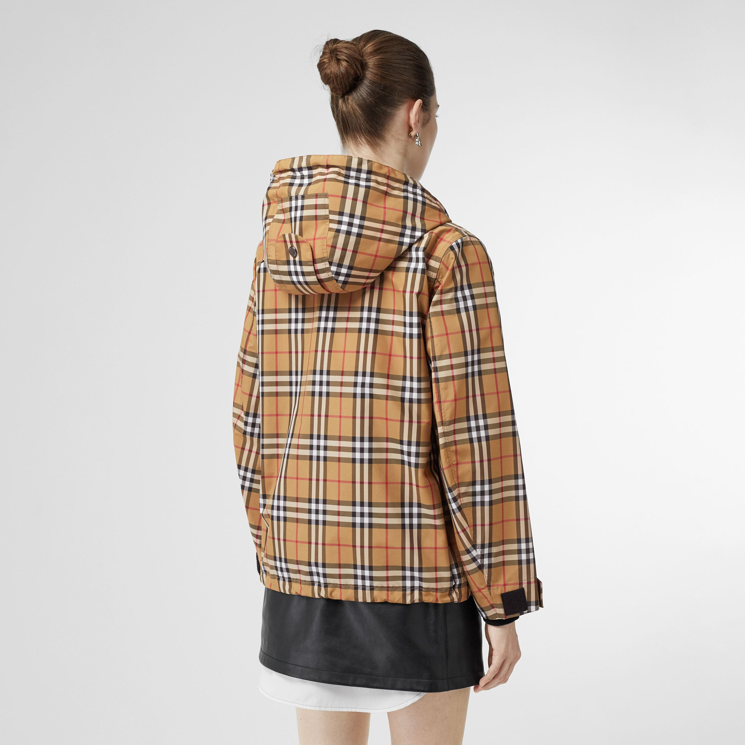 Vintage Check Lightweight Hooded Jacket in Antique Yellow - Women | Burberry - 3