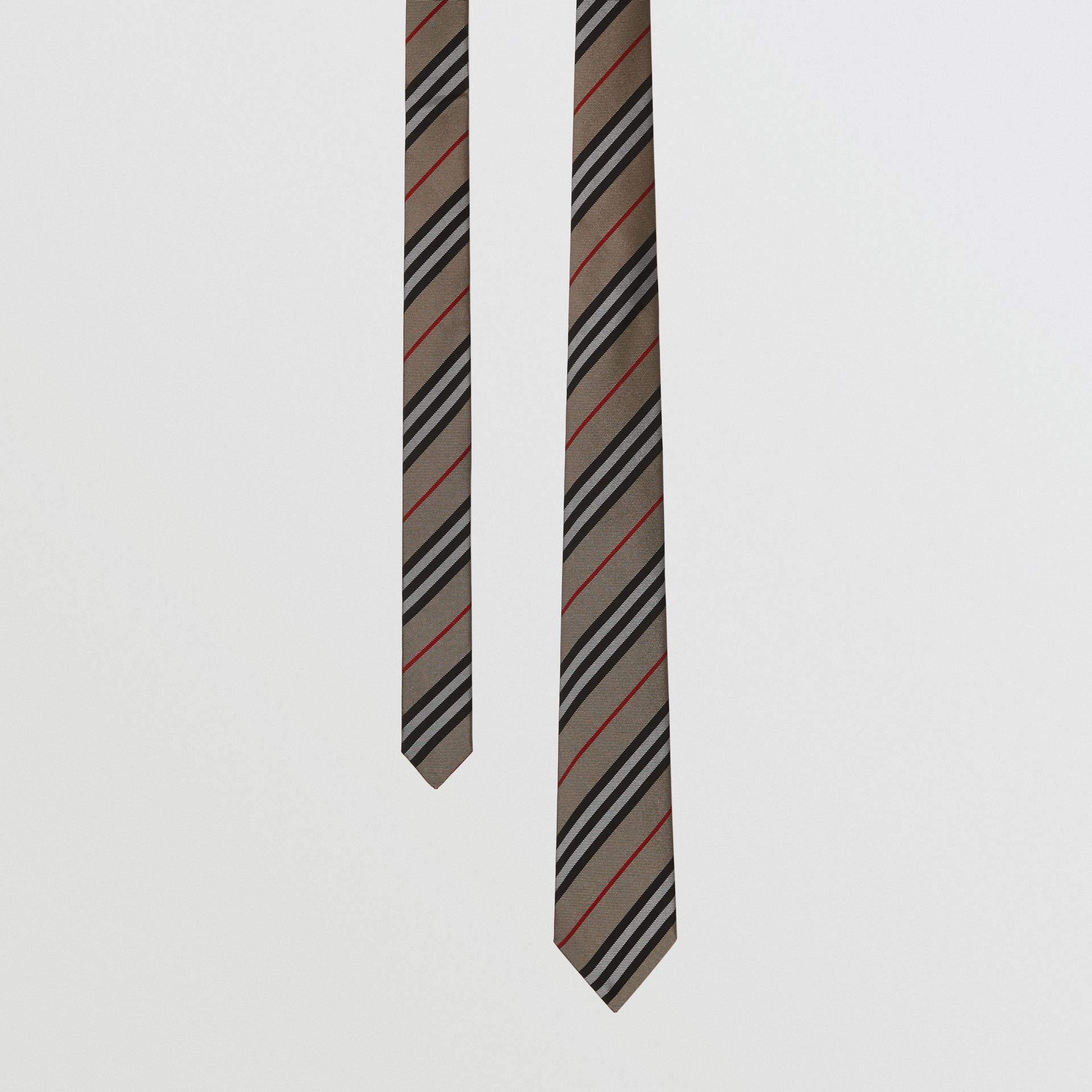 Classic Cut Icon Stripe Silk Tie in Archive Beige - Men | Burberry United Kingdom - gallery image 0