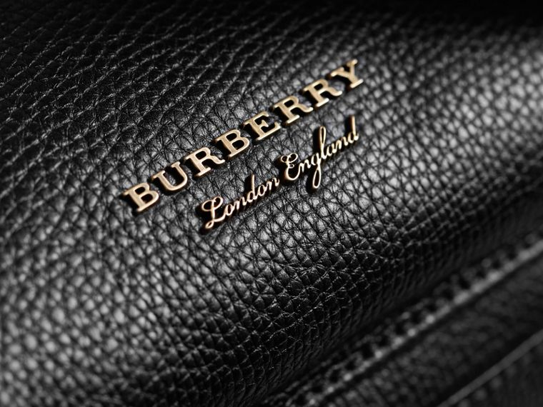 The Large Rucksack in Grainy Leather and House Check in Black | Burberry - cell image 1