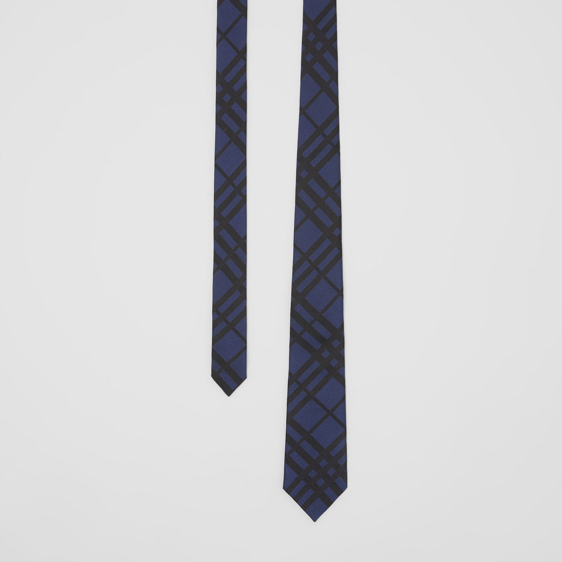 Classic Cut Check Silk Jacquard Tie in Navy - Men | Burberry - gallery image 0