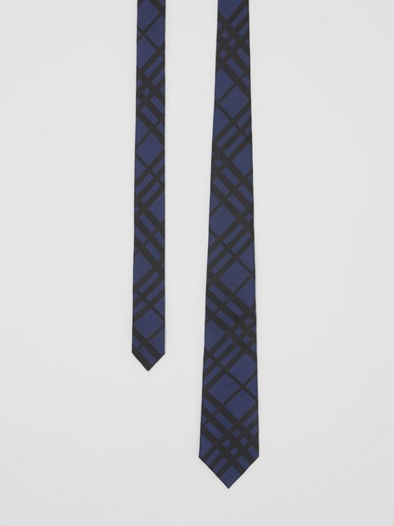 Classic Cut Check Silk Jacquard Tie in Navy