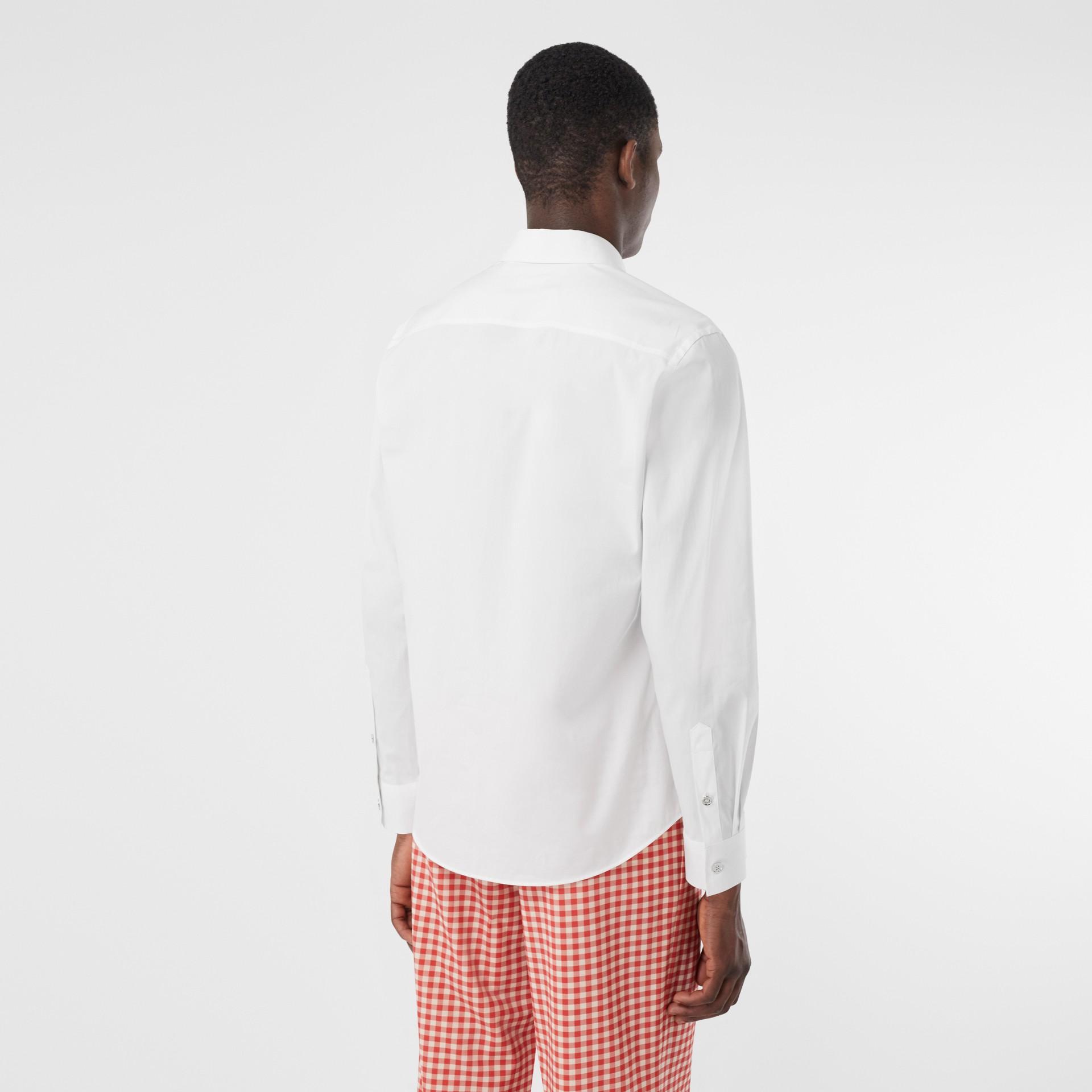 Monogram Motif Stretch Cotton Poplin Shirt in White - Men | Burberry - gallery image 2