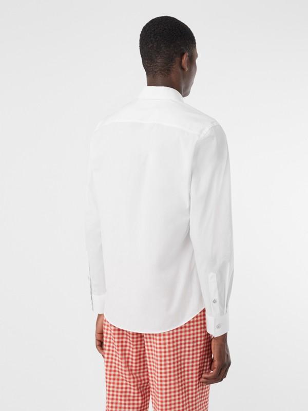 Monogram Motif Stretch Cotton Poplin Shirt in White - Men | Burberry United Kingdom - cell image 2