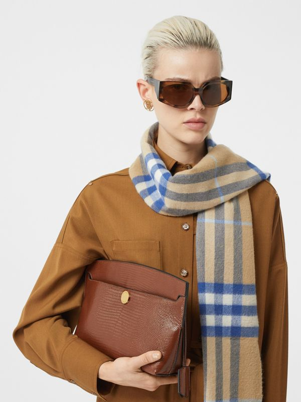 The Classic Check Cashmere Scarf in Arc Beige/inky Blue | Burberry - cell image 2