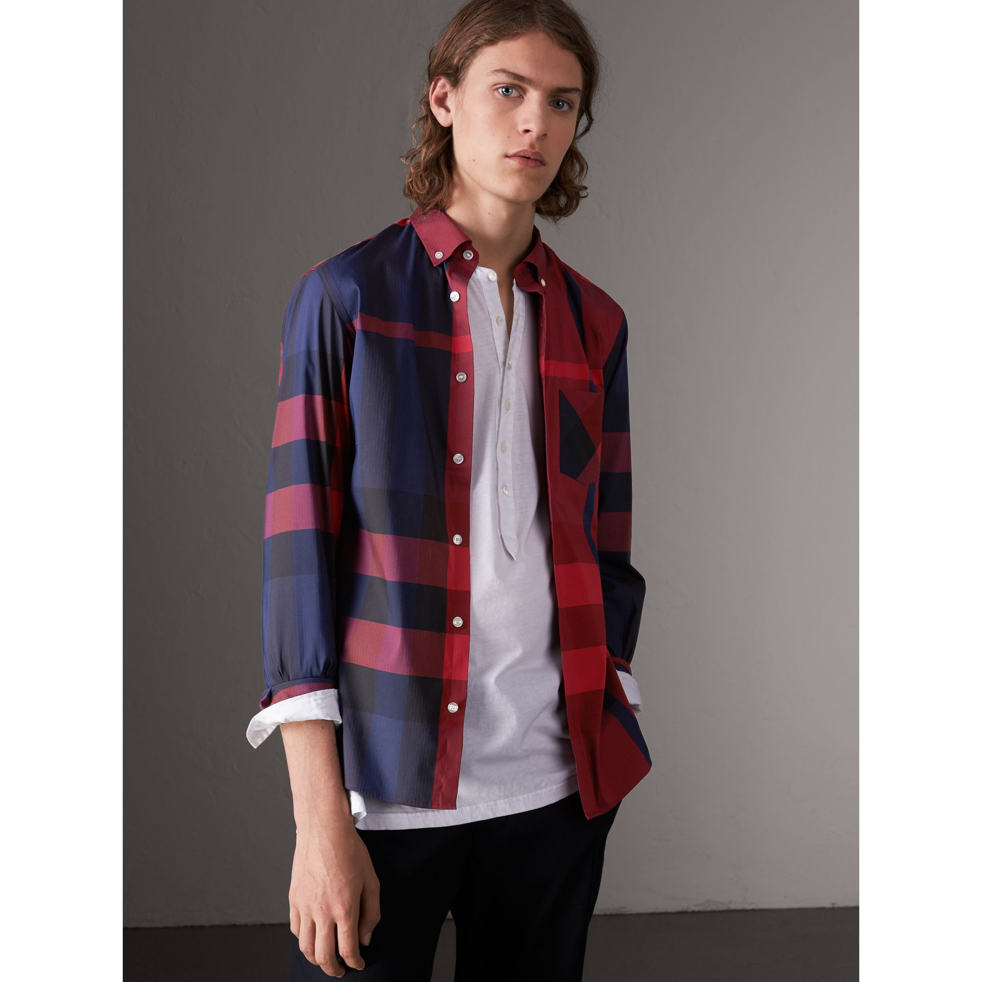 Button-down Collar Check Stretch Cotton Blend Shirt in Bright Red - Men | Burberry United Kingdom - gallery image 1
