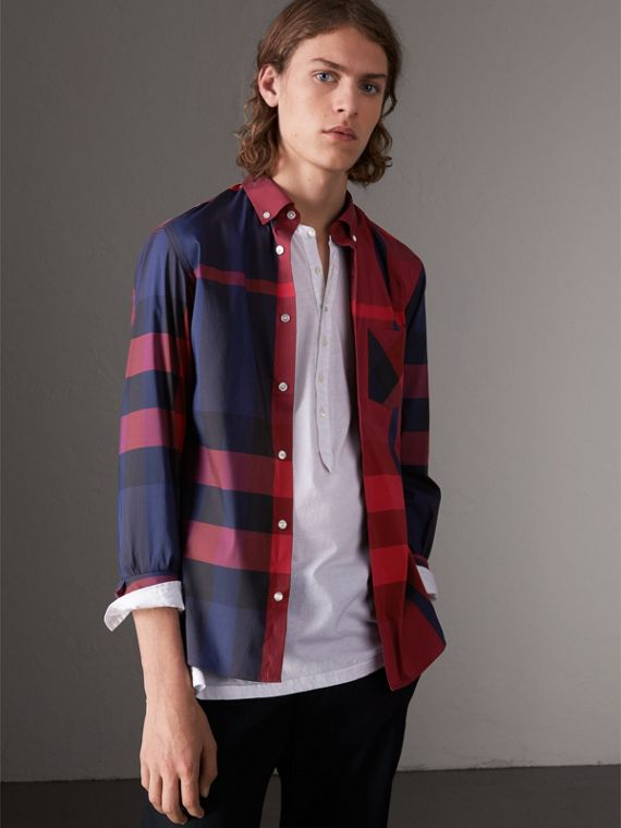 Button-down Collar Check Stretch Cotton Blend Shirt in Bright Red