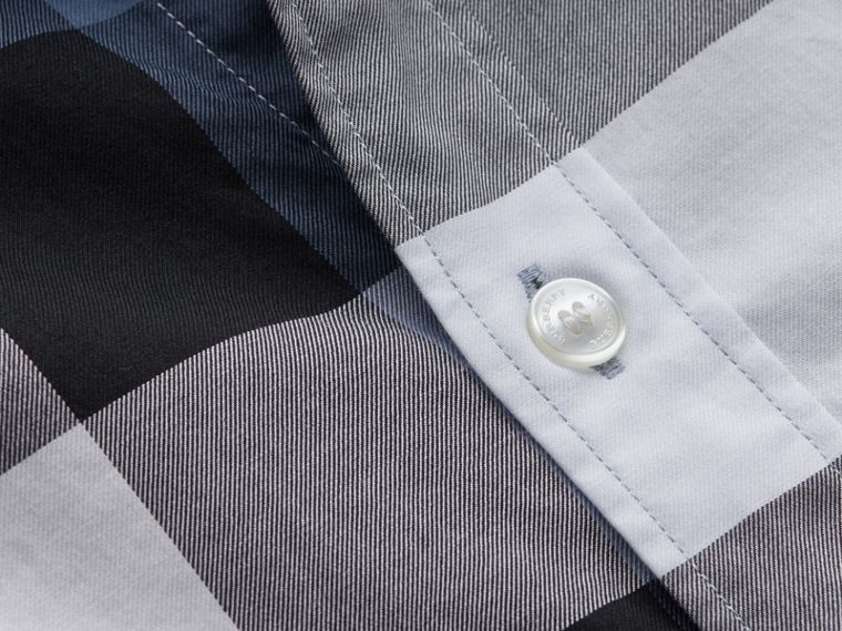 Button-down Collar Short-sleeve Check Cotton Shirt in Lupin Blue - Men | Burberry - cell image 1