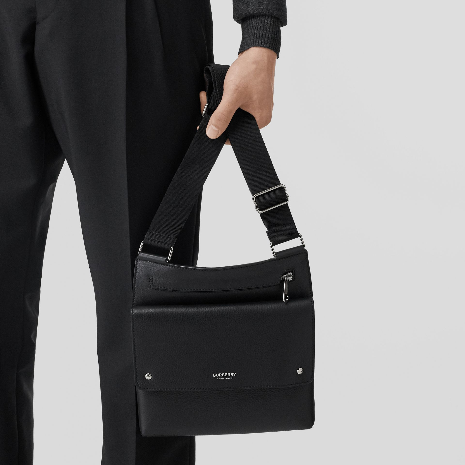 Grainy Leather Crossbody Bag in Black - Men | Burberry United States - gallery image 2