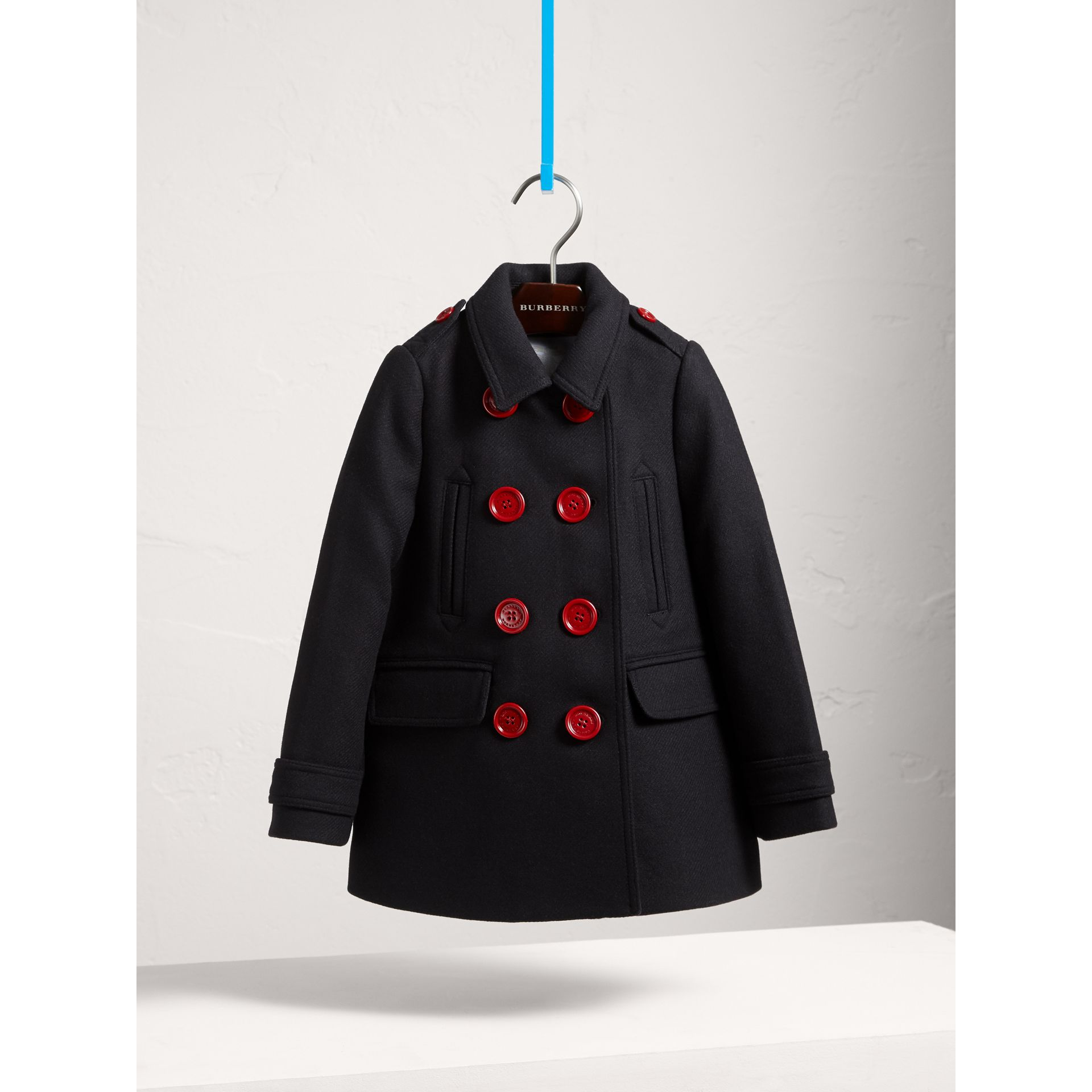 Resin Button Wool Cashmere Blend Pea Coat in Navy - Girl | Burberry Hong Kong - gallery image 3