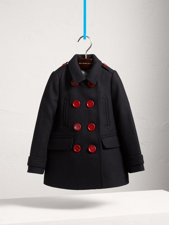 Resin Button Wool Cashmere Blend Pea Coat in Navy - Girl | Burberry - cell image 2