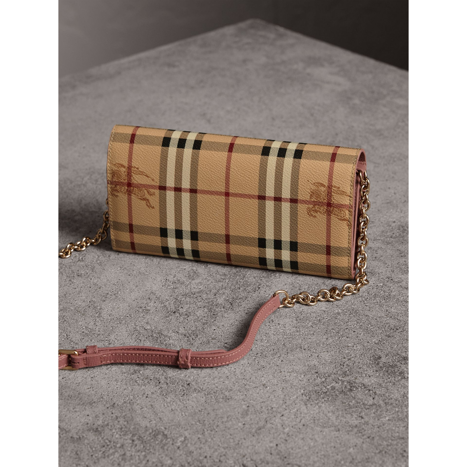 Leather Trim Haymarket Check Wallet with Chain in Light Elderberry - Women | Burberry - gallery image 4