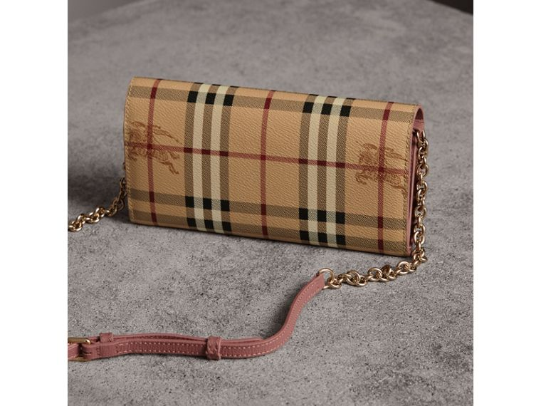 Leather Trim Haymarket Check Wallet with Chain in Light Elderberry - Women | Burberry Australia - cell image 4