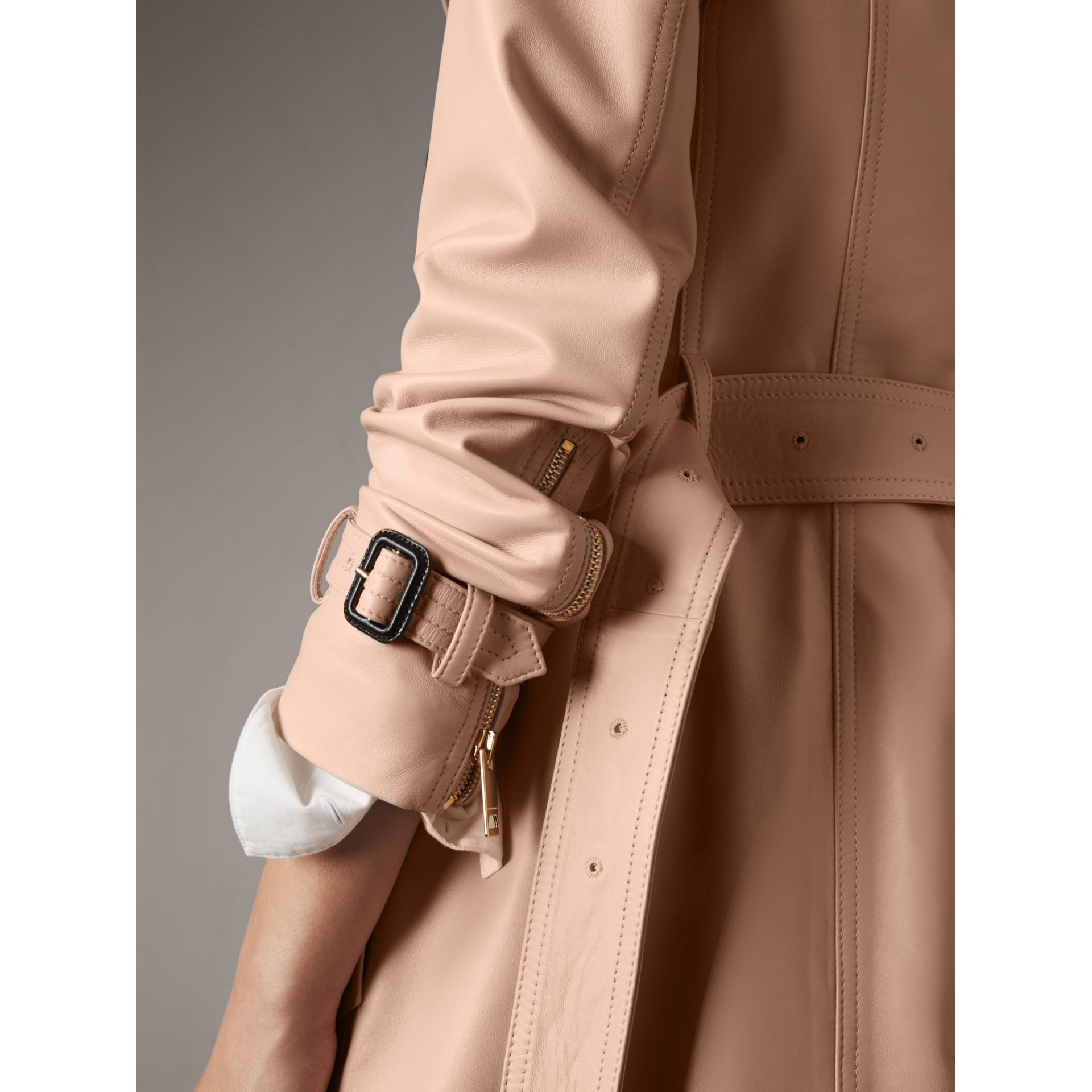 Lambskin Trench Coat in Pale Nude - Women | Burberry - gallery image 4