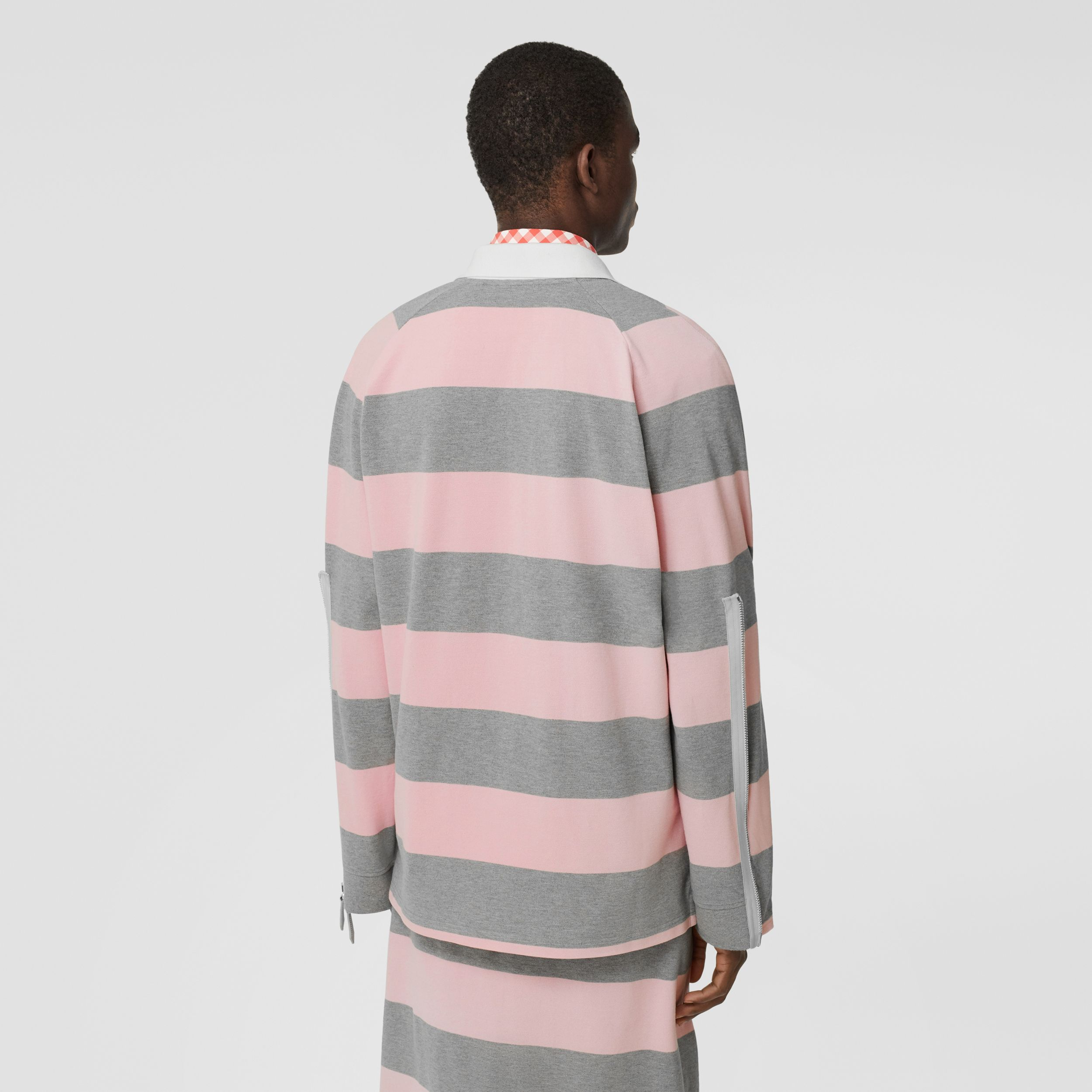 Long-sleeve Zip Detail Striped Cotton Polo Shirt in Pale Pink - Men | Burberry - 3