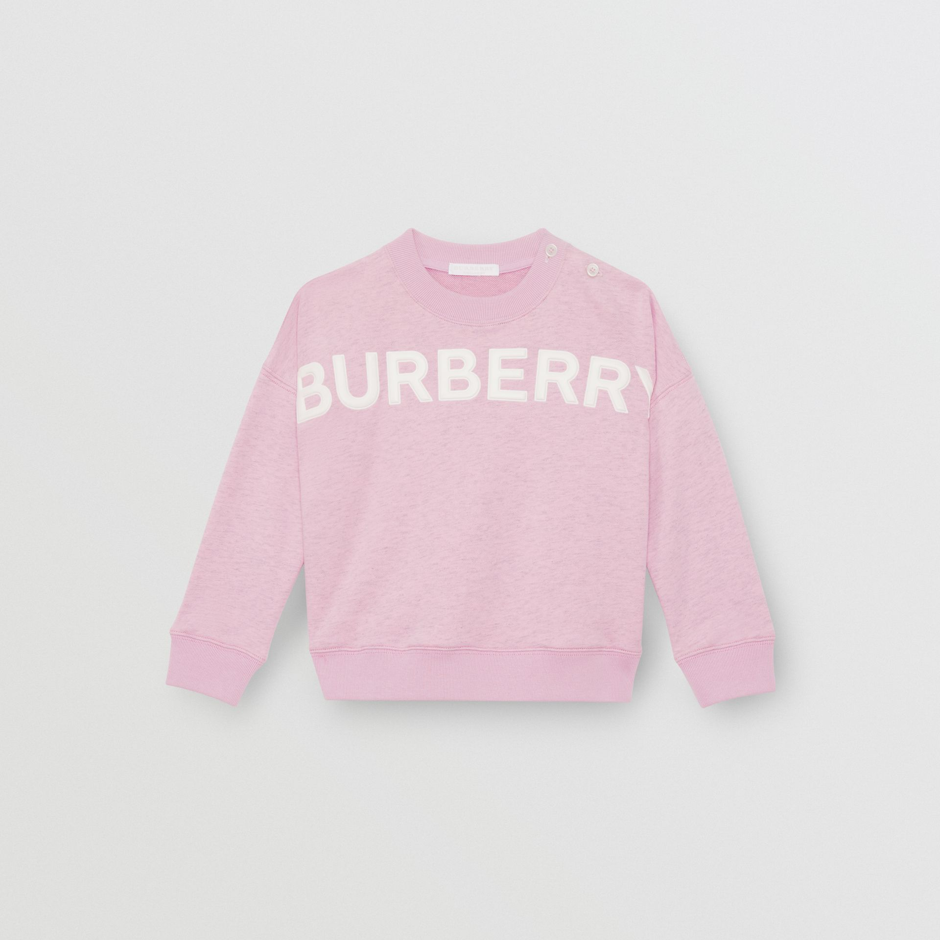 Logo Detail Cotton Sweatshirt in Pale Neon Pink - Children | Burberry - gallery image 0