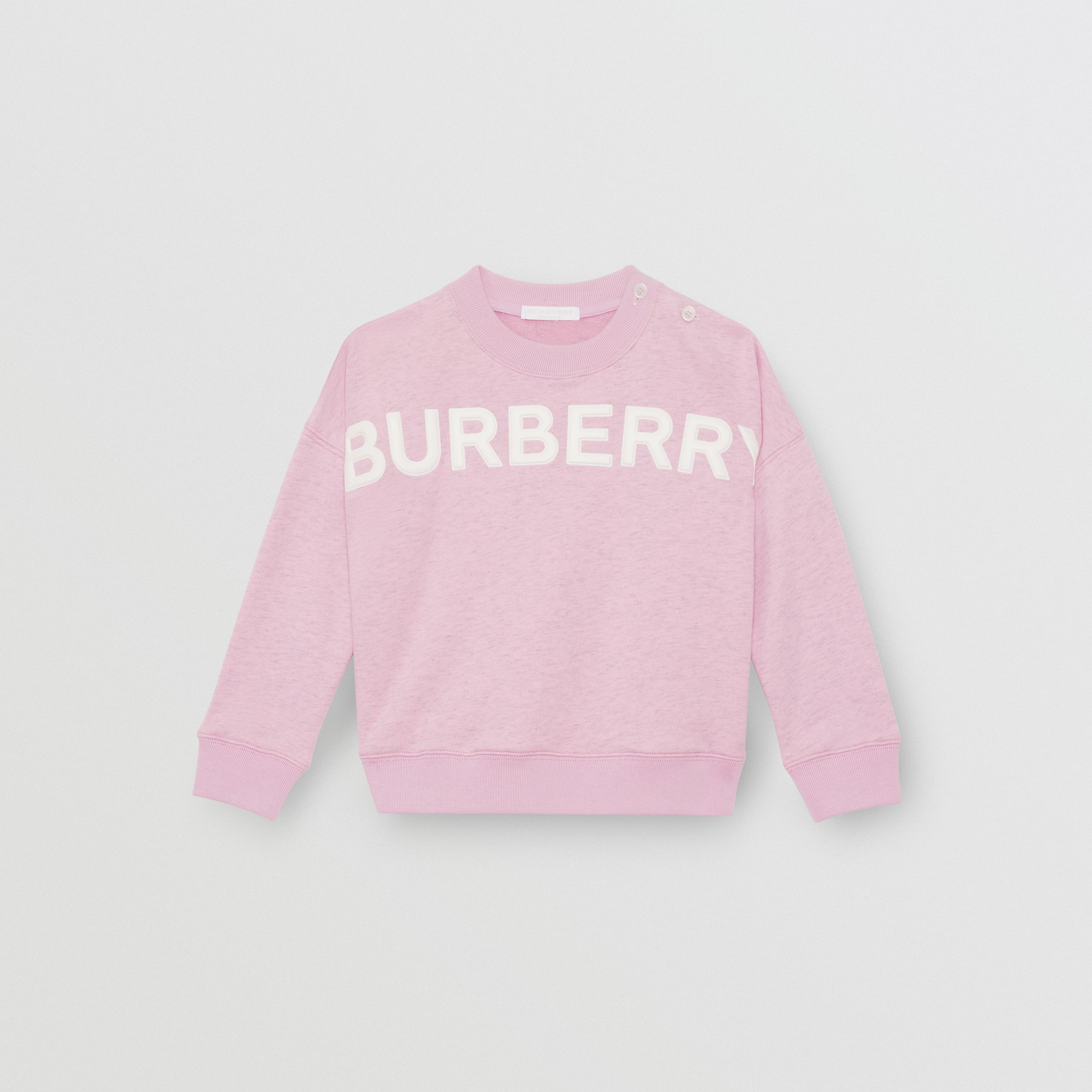 Logo Detail Cotton Sweatshirt in Pale Neon Pink | Burberry - 1