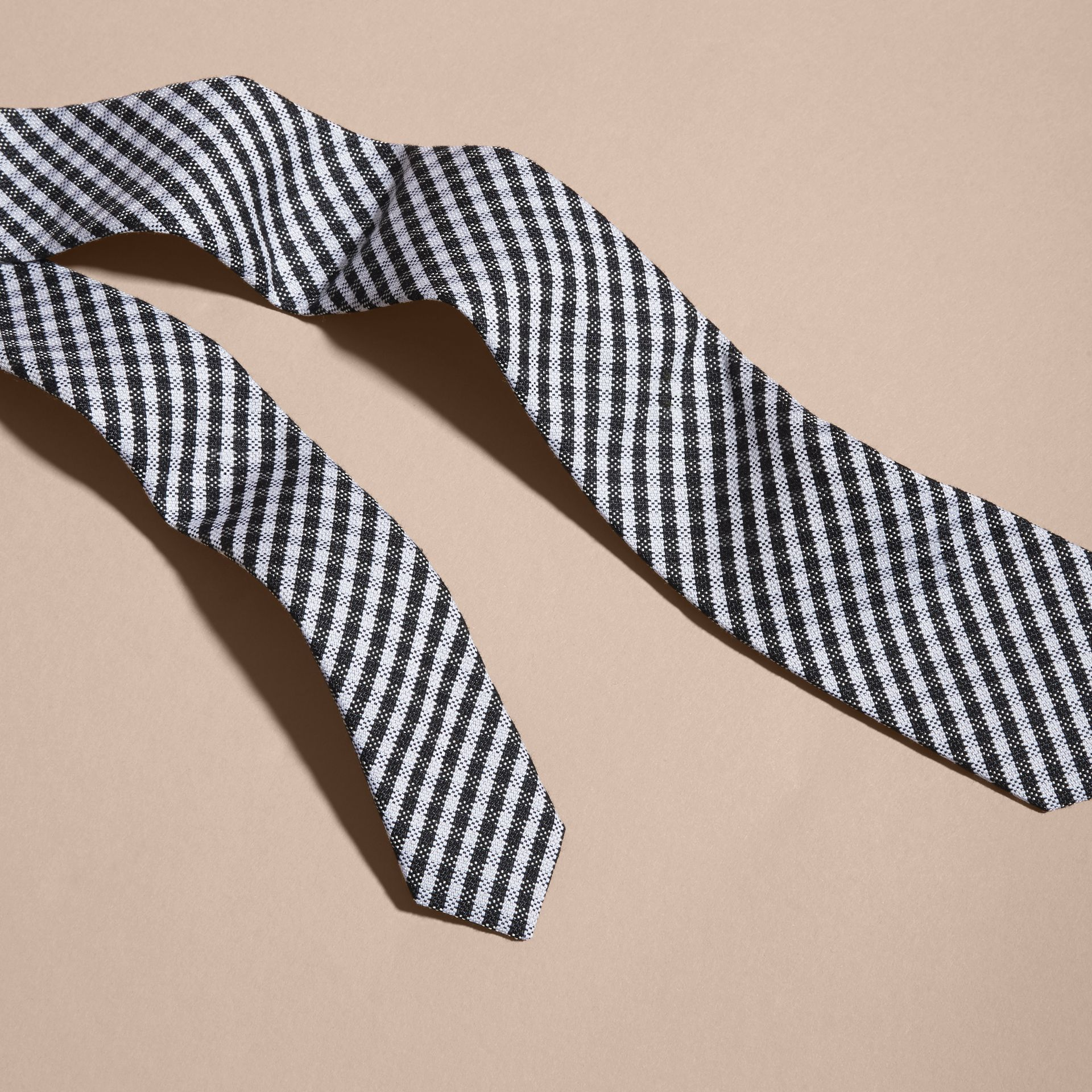 Black Slim Cut Cotton Silk Gingham Tie Black - gallery image 2