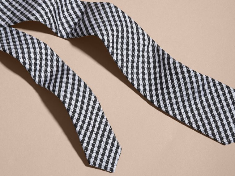 Black Slim Cut Cotton Silk Gingham Tie Black - cell image 1