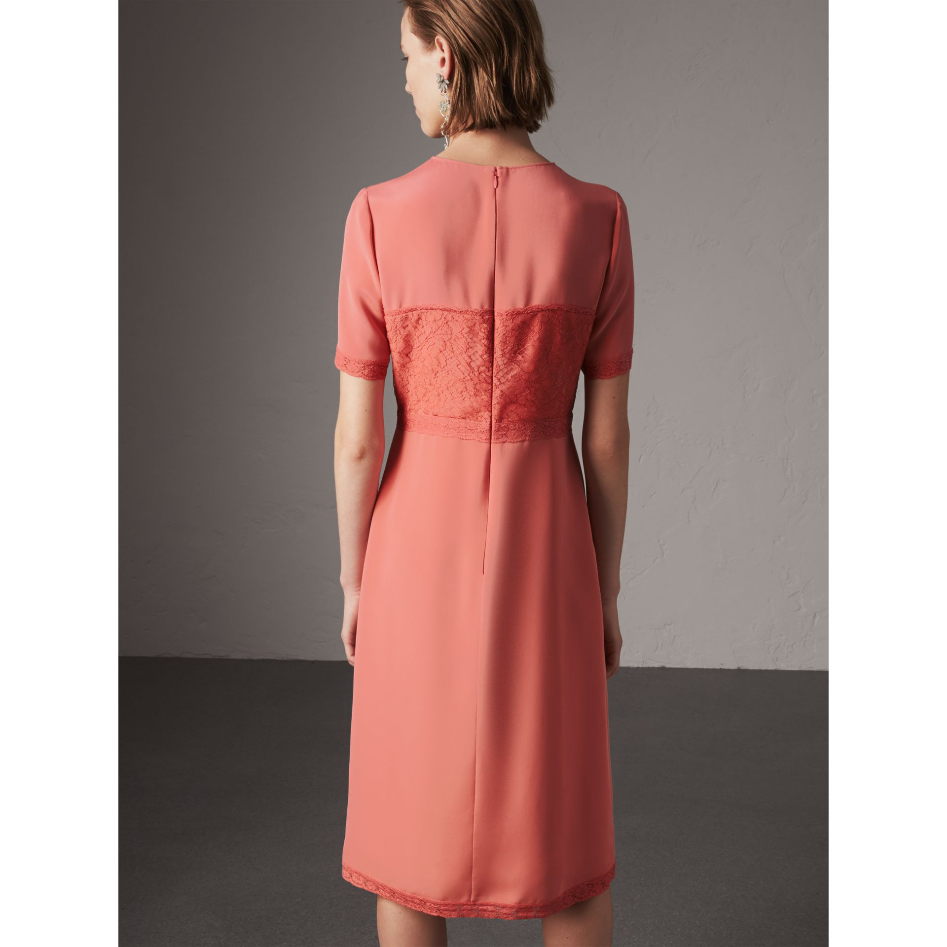 Chantilly Lace Detail Silk Crepe Marocain Dress in Coral Red - Women | Burberry - gallery image 3