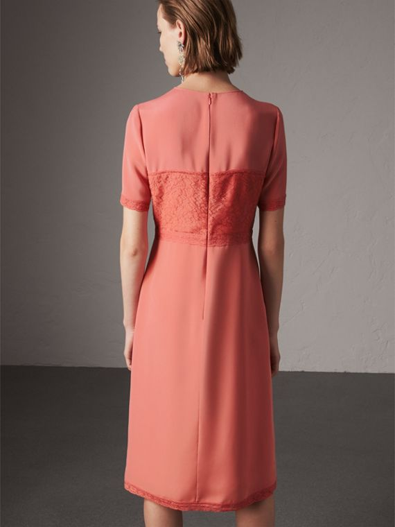 Chantilly Lace Detail Silk Crepe Marocain Dress in Coral Red - Women | Burberry - cell image 2