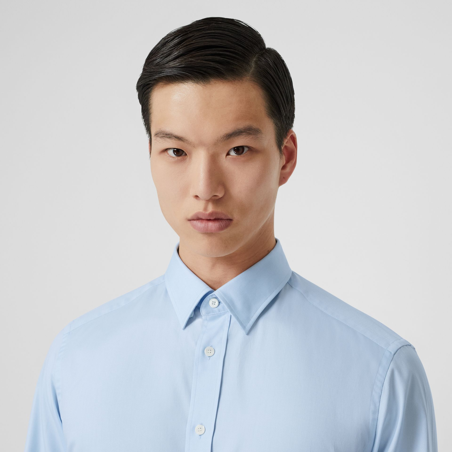 Classic Fit Monogram Motif Cotton Oxford Shirt in Pale Blue - Men | Burberry - gallery image 1
