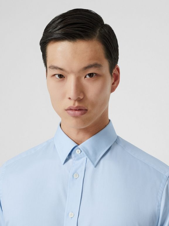 Classic Fit Monogram Motif Cotton Oxford Shirt in Pale Blue - Men | Burberry Canada - cell image 1