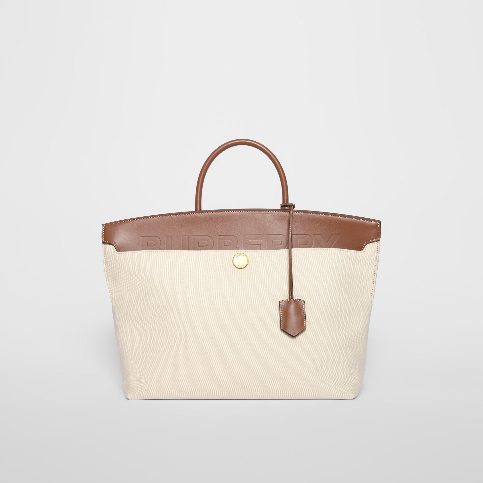 Cotton Canvas and Leather Society Top Handle Bag in Natural/malt Brown - Women | Burberry Australia - gallery image 0