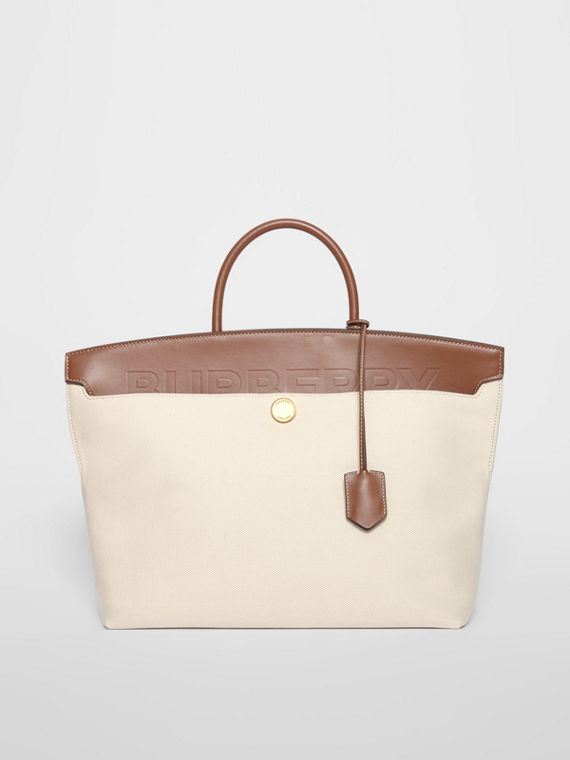 Cotton Canvas and Leather Society Top Handle Bag in Natural/malt Brown