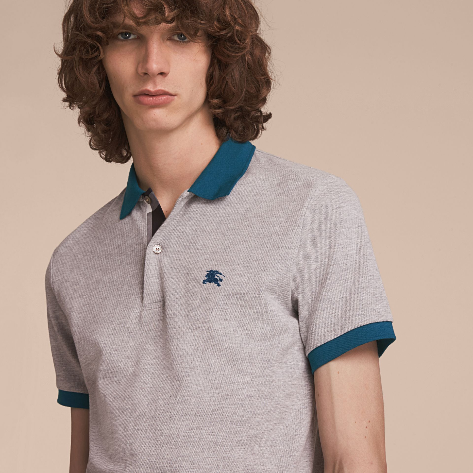 Two-tone Check Placket Cotton Piqué Polo Shirt in Pale Grey Melange - gallery image 5