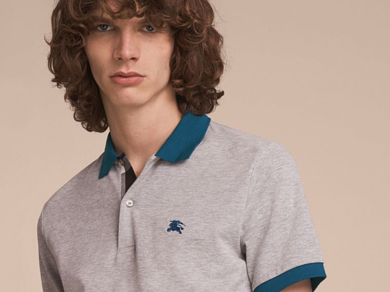 Two-tone Check Placket Cotton Piqué Polo Shirt in Pale Grey Melange - cell image 4