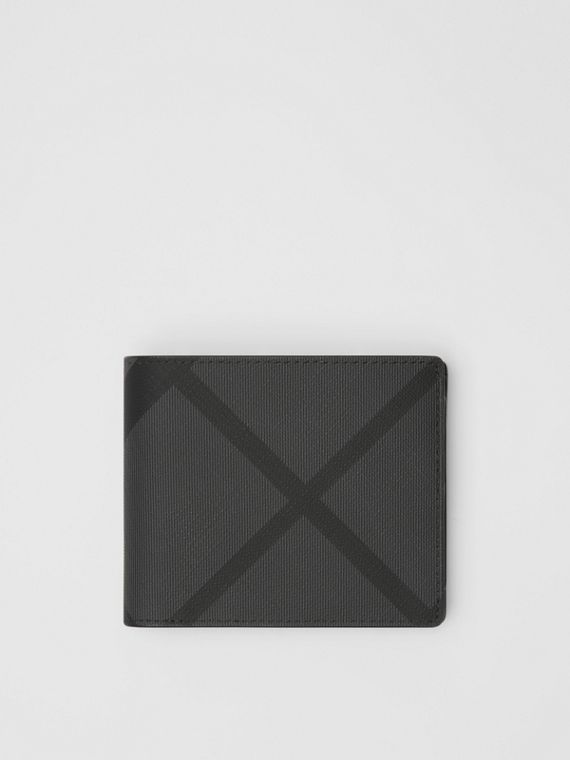 London Check Bifold Wallet with ID Card Case in Charcoal/black