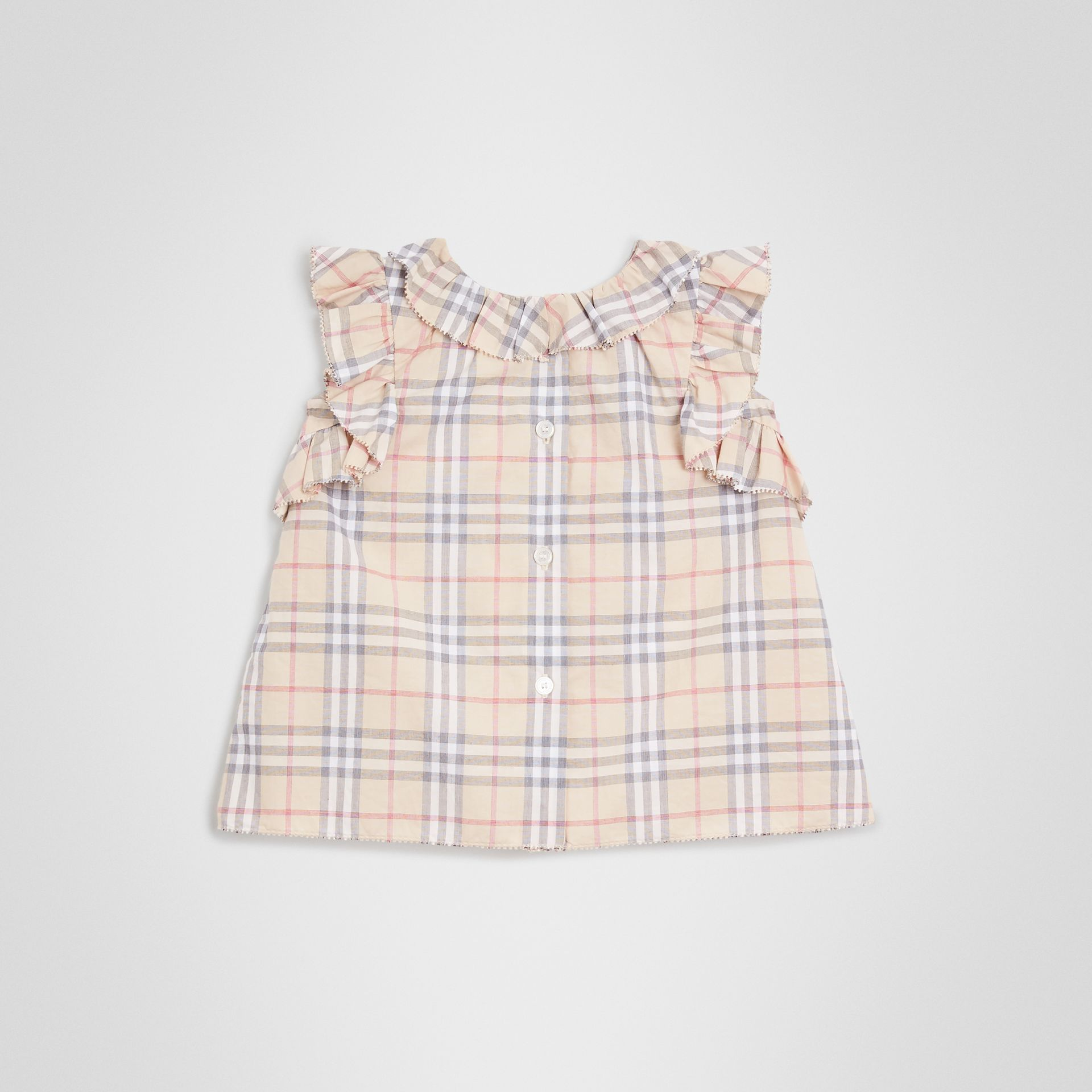 Ruffle Detail Check Cotton Dress with Bloomers in Pale Stone - Children | Burberry Singapore - gallery image 4