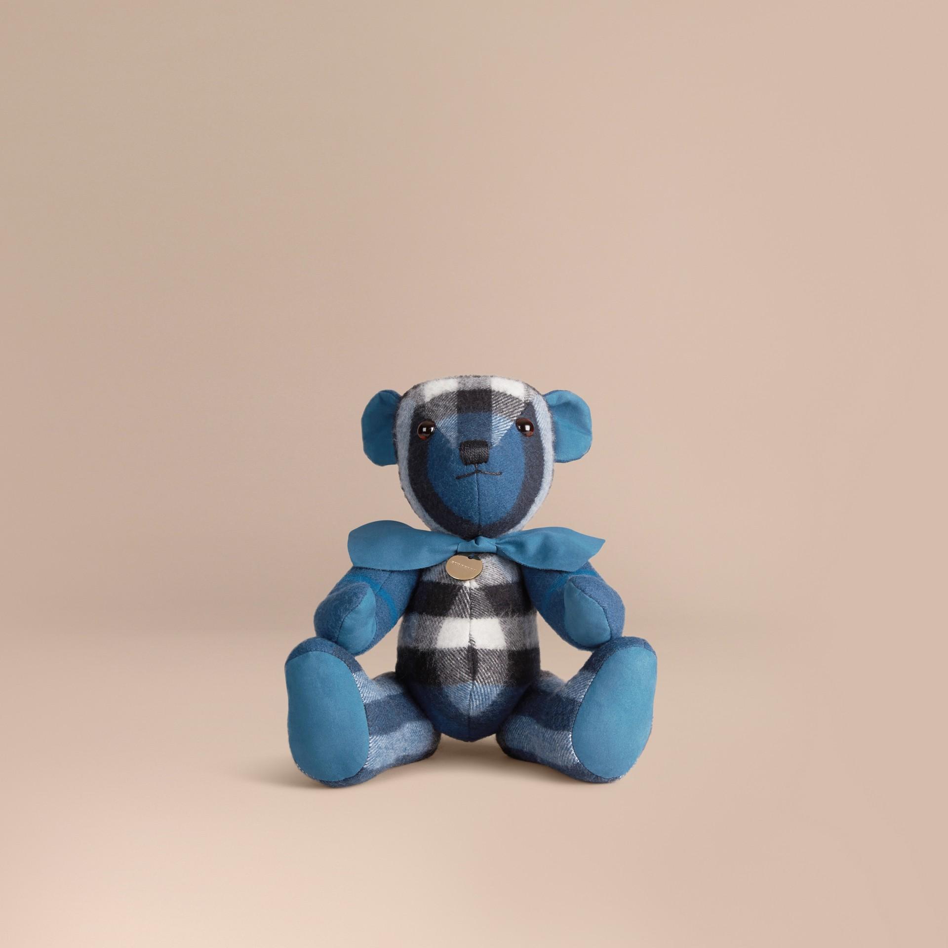 Ozeanblau Burberry-Teddybär aus Kaschmir mit Check-Muster Ozeanblau - Galerie-Bild 1