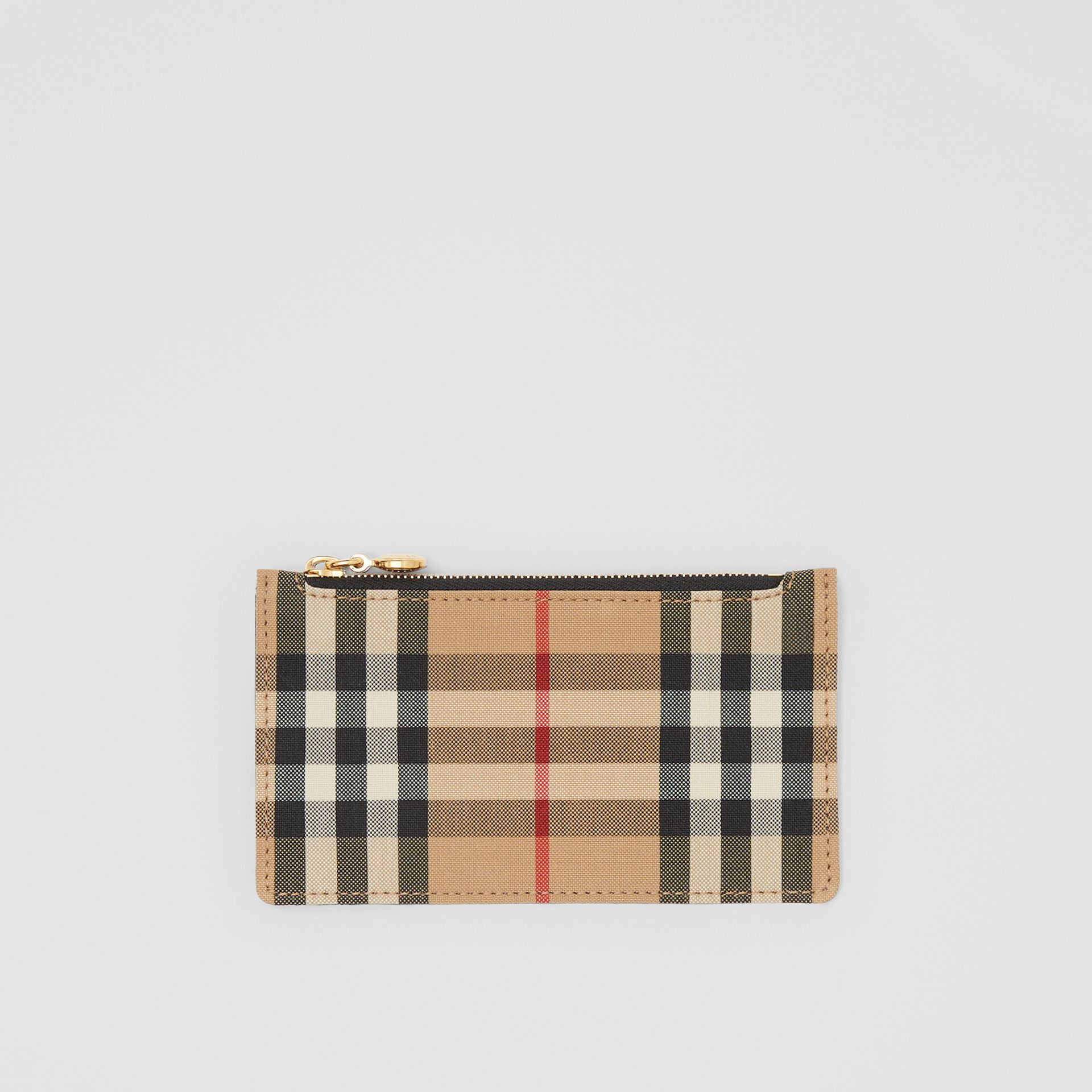 Vintage Check and Leather Zip Card Case in Black - Women | Burberry Canada - gallery image 0