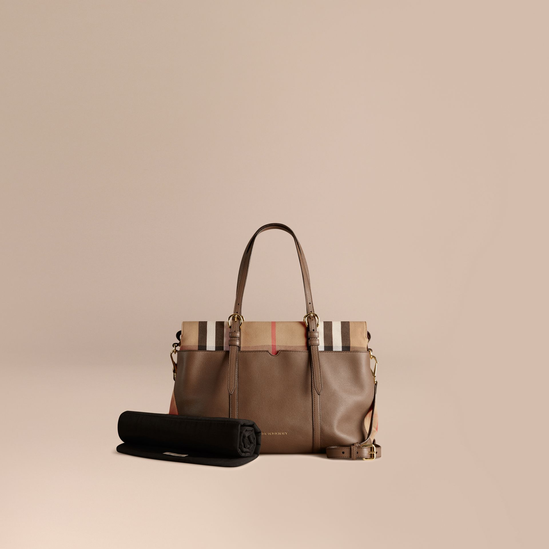 House Check and Leather Baby Changing Bag in Taupe Grey - gallery image 1