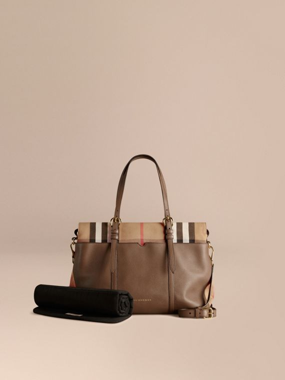 House Check and Leather Baby Changing Bag Taupe Grey