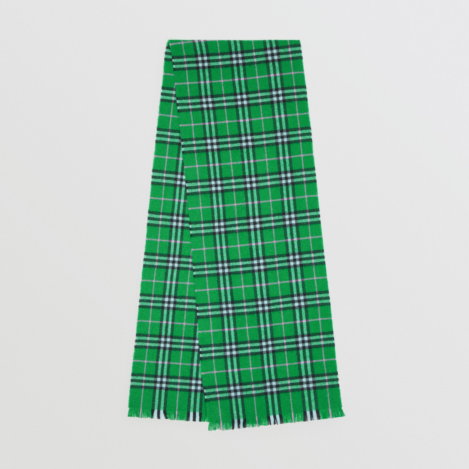 Check Cashmere Scarf in Bright Grass Green | Burberry - gallery image 0