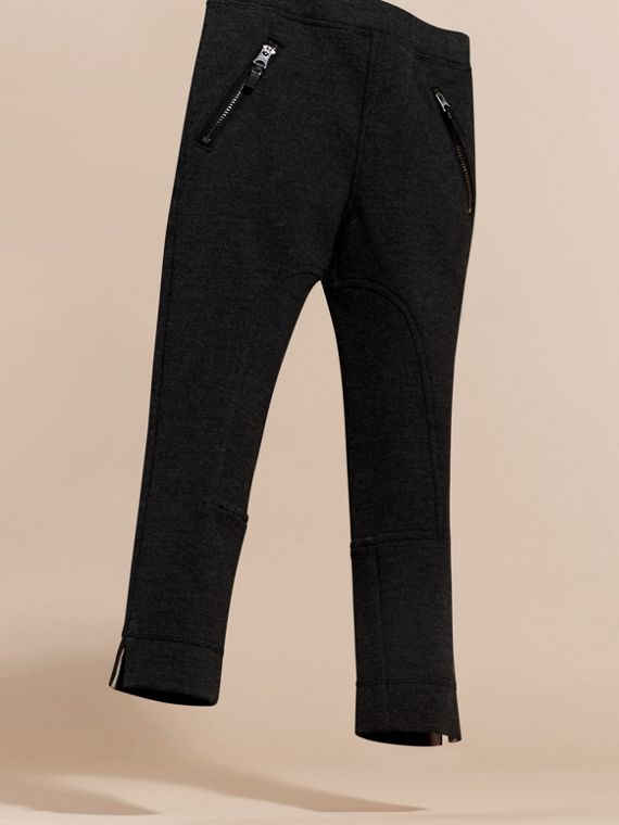 Mid grey melange Stretch Leggings with Zip Pockets - cell image 2