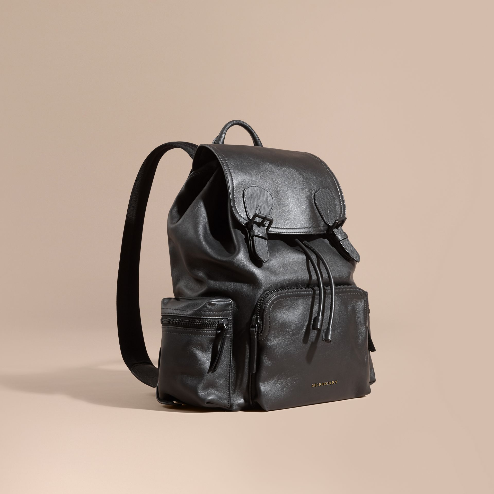 The Large Rucksack in Water-repellent Leather in Black - gallery image 1