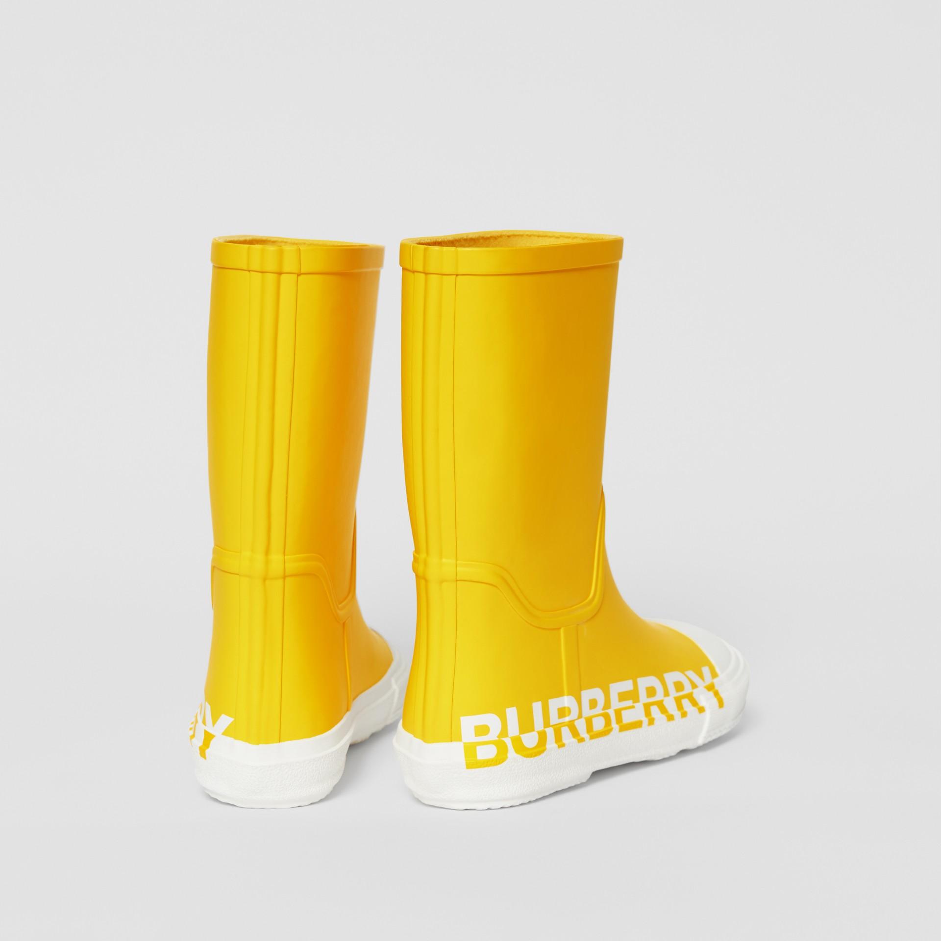 Двухцветные резиновые сапоги с логотипом (Канареечно-желтый) - Для детей | Burberry - изображение 2