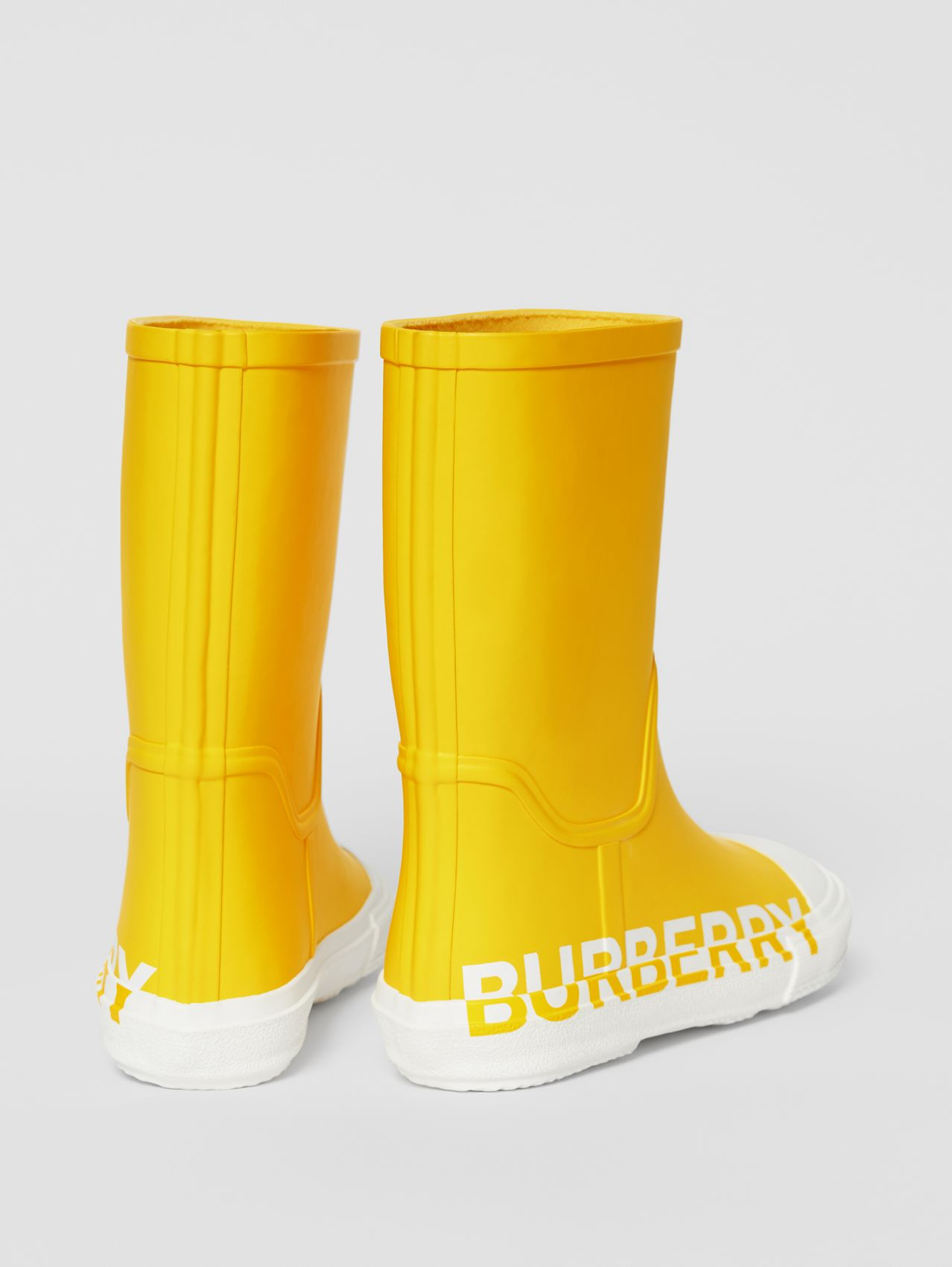 Logo Print Two-tone Rubber Rain Boots (Canary Yellow)