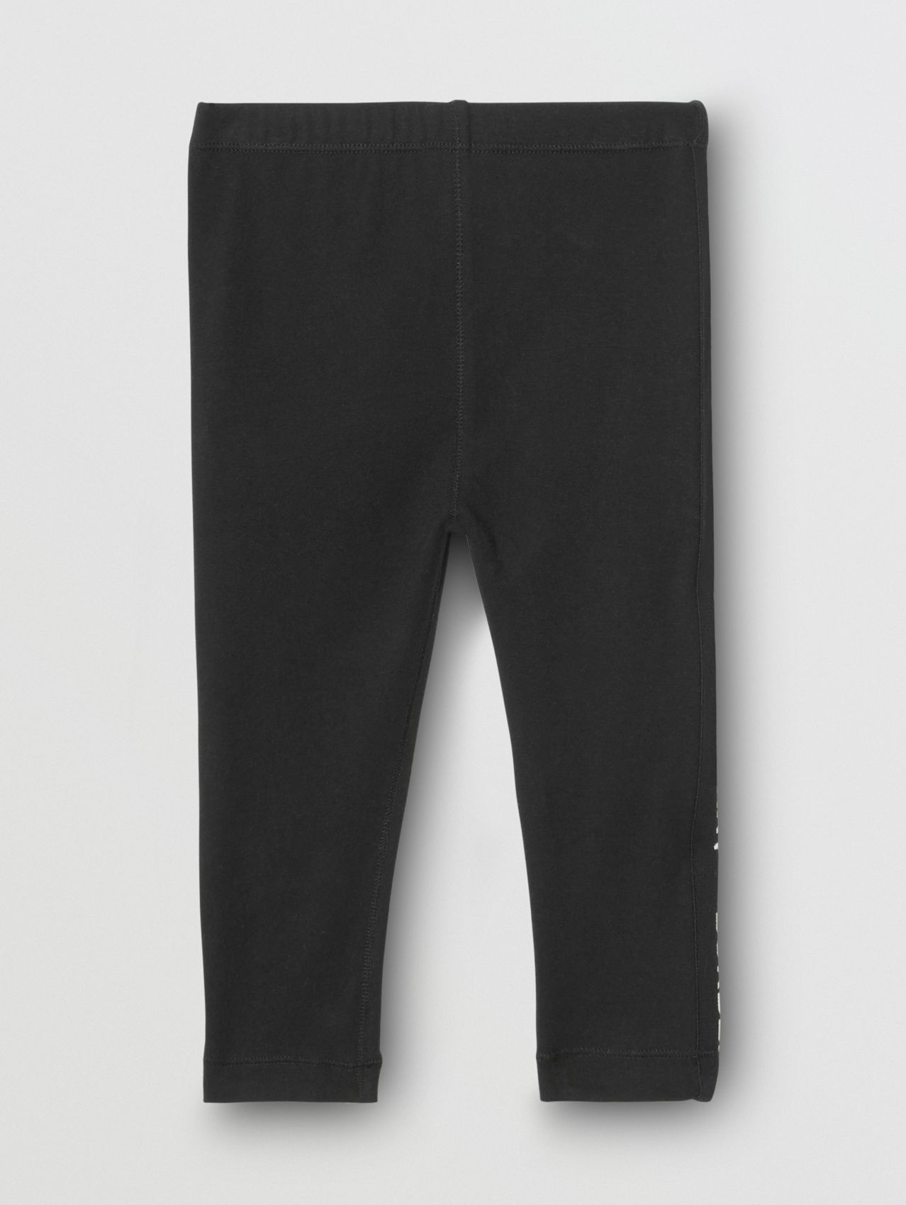 Logo Detail Stretch Cotton Jersey Leggings in Black