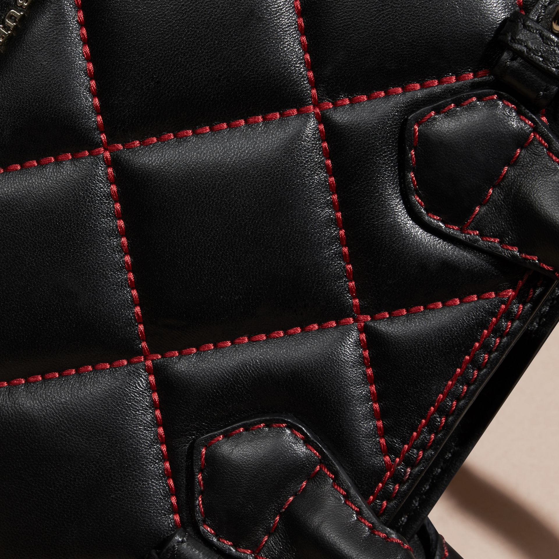 Black/ parade red The Baby Banner in Quilted Lambskin Black/ Parade Red - gallery image 6