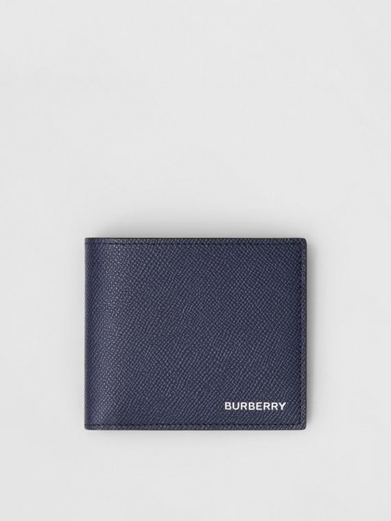 Grainy Leather International Bifold Coin Wallet in Regency Blue