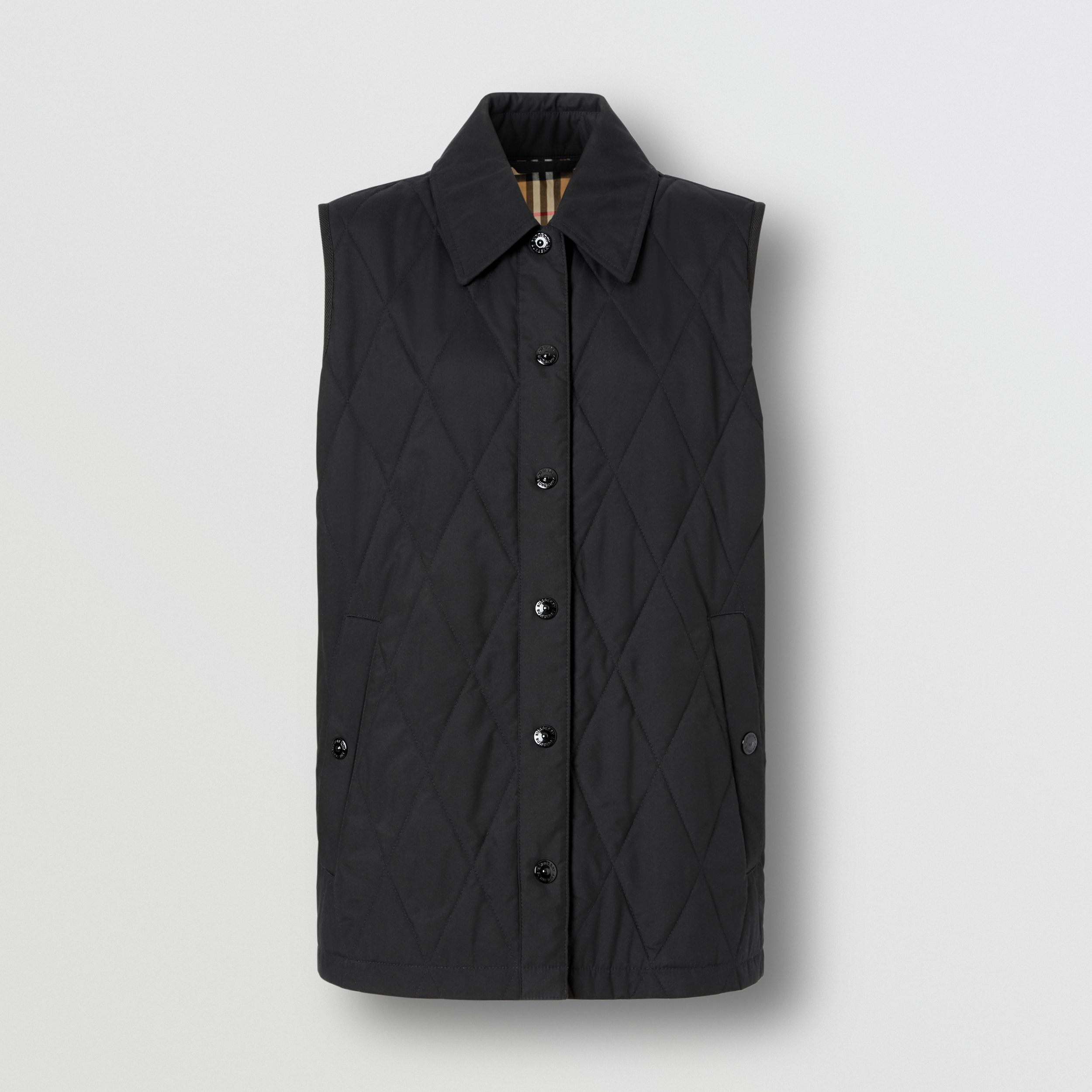 Diamond Quilted Gilet in Black - Women | Burberry - 4