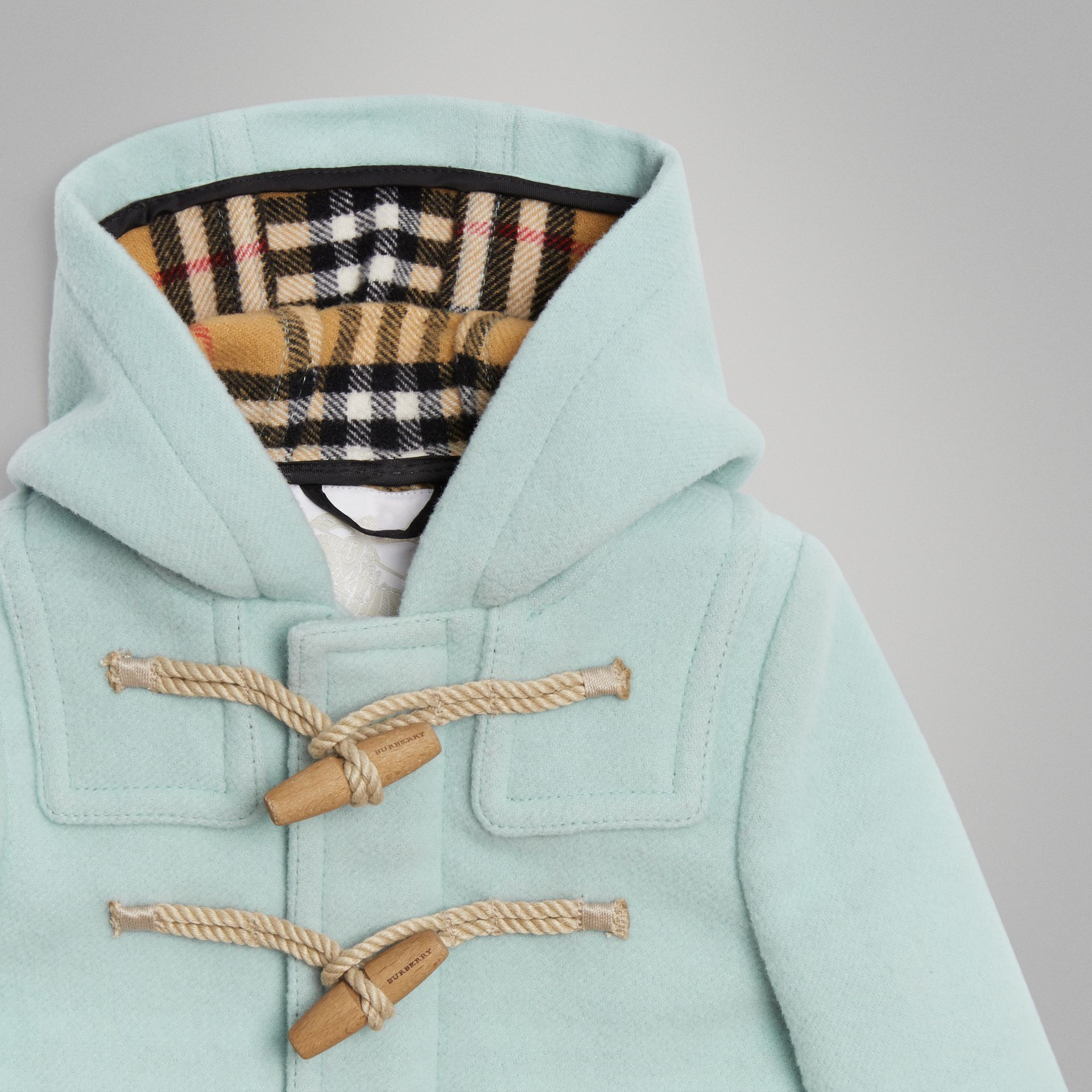 Boiled Wool Duffle Coat in Pale Mint | Burberry - gallery image 4
