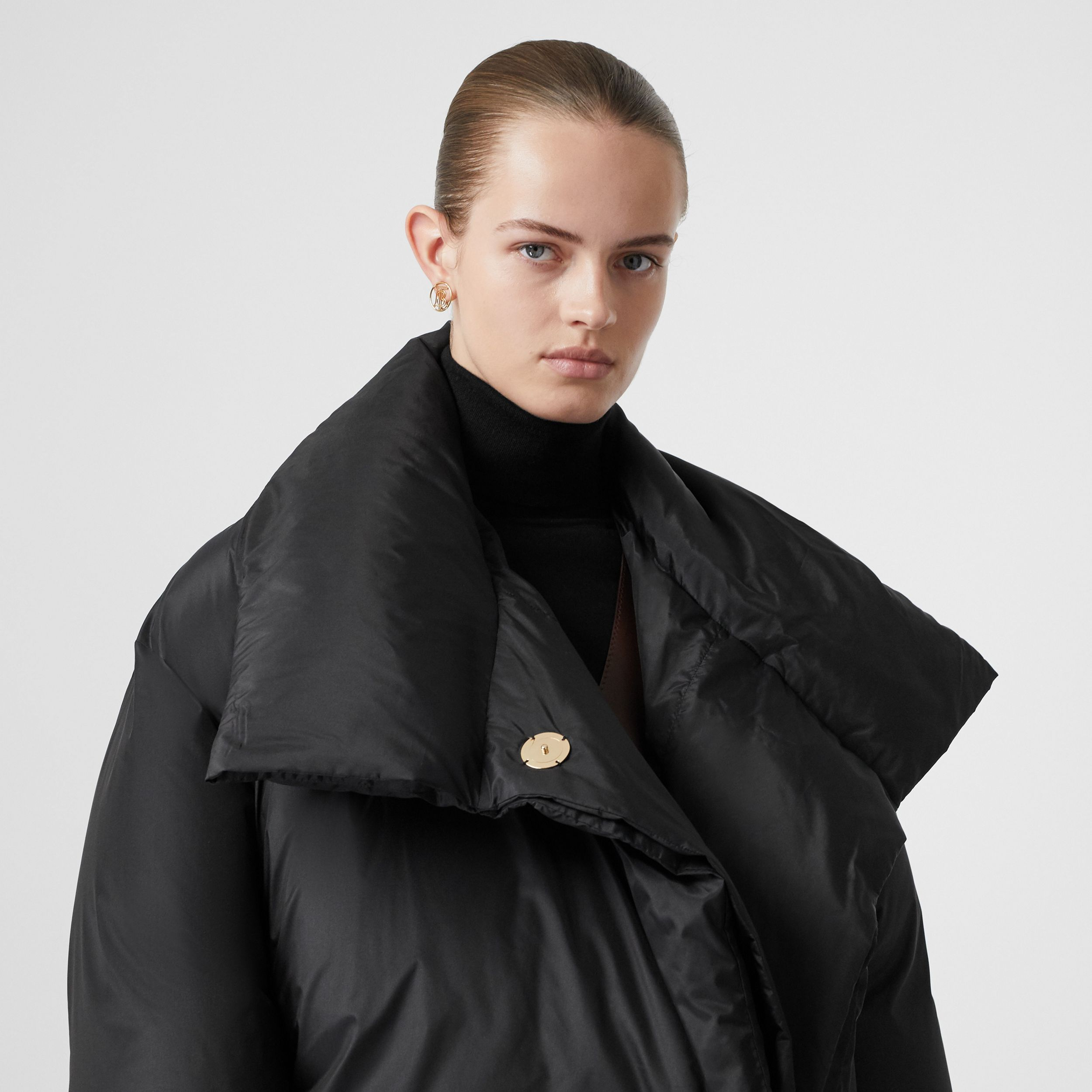 Detachable Hood Down-filled Oversized Wrap Coat in Black - Women | Burberry - 2